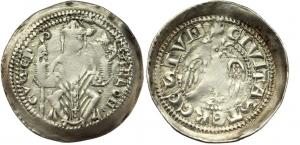 D/  TRIESTE, Arlongo de' Voitsberg (1255-1281) Denaro con colomba argento 1.14 gr. D/ ·ARLON· ·GVS·EP· Vescovo seduto con pastorale e vangelo. R/ +CIVITASTERGESTVM. Paolucci 12b rara BB+ schiacciatura di conio