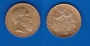 D/  BELGIO – Leopoldo II (1865-1909)20 Franchi 1882 KM 37 SPL/FDC