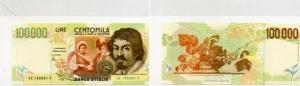 D/ REPUBBLICA ITALIANA - 100000 lire Caravaggio 2° Tipo, RADAR serie CE188881F estremamente rara assoluto FDS