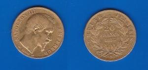 D/ FRANCIA – Napoleone III (1852-1870)20 Franchi 1853 A Friedberg 574 BB+/qSPL