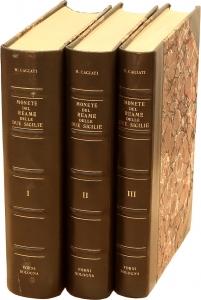 D/  CAGIATI Memmo, Monete del Reame delle Due Sicilie. Opera in 3 volumi. Ristampa Forni 1969 Tela, pp. 1530 disegni nel testo