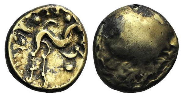 D/ Celtic, Northeast Gaul. Ambiani, c. 58-55 BC. AV Stater (17mm, 5.97). Gallic War issue. Plain bulge. R/ Large disjointed horse r.; crescents and pellets around. Van Arsdell 52-1; SCBC 11. VF
