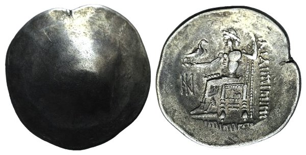 D/ Celtic, Eastern Europe, 2nd century BC. AR Tetradrachm (29mm, 15.41g, 12h). Imitating Philip III of Macedon. Crude head of Herakles r. R/ Zeus Aëtophoros seated l.; monogram to l. Lanz 918. Toned, Good VF