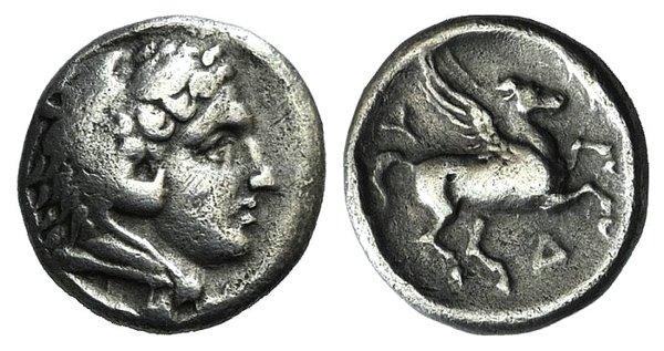 D/ Illyria, Dyrrhachion, c. 275-270 BC. AR Hemidrachm(?) (12mm, 1.88g, 11h). Head of Herakles r., wearing lion skin. R/ Pegasos flying r. SNG Copenhagen 433-5. Good VF