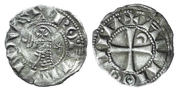 D/ Crusaders, Antioch. Bohemund III (1163-1201). AR Denier (17mm, 0.83g, 3h). Helmeted and mailed head l.; crescent before, star behind. R/ Cross pattée; crescent in second quarter. Metcalf 378; CCS 67d. VF - Good VF