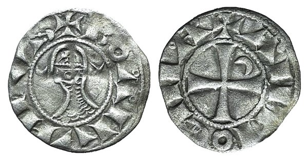 D/ Crusaders, Antioch. Bohemund III (1163-1201). AR Denier (17mm, 0.79g, 6h). Helmeted and mailed head l.; crescent before, star behind. R/ Cross pattée; crescent in second quarter. Metcalf 378; CCS 67d. Good VF