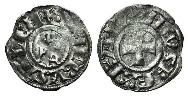 D/ Crusaders, Latin Kingdom of Jerusalem. Baldwin III (1143-1163). BI Denier (17mm, 0.99g, 12h). Cross pattée. R/ Tower of David, with annulets. Metcalf, Crusades 158A; CCS 18. VF