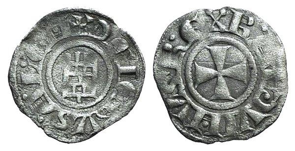 D/ Crusaders, Latin Kingdom of Jerusalem. Baldwin III (1143-1163). BI Denier (16mm, 0.68g, 11h). Cross pattée. R/ Tower of David, with annulets. Metcalf, Crusades 158A; CCS 18. VF