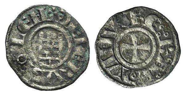 D/ Crusaders, Latin Kingdom of Jerusalem. Baldwin III (1143-1163). BI Obol (12mm, 0.61g, 8h). Cross pattée. R/ 'Tower of David'. Cf. Metcalf, Crusades 147-8 (Denier). Holed and repaired, otherwise VF