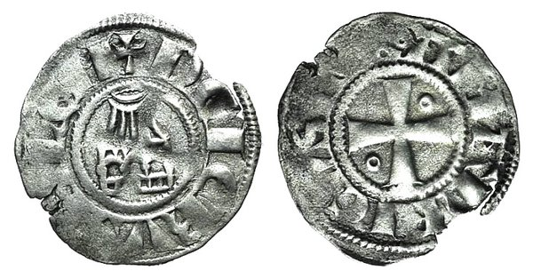 D/ Crusaders, Latin Kingdom of Jerusalem. Amaury (1163-1174). AR Denier (17mm, 0.68g, 6h). Cross pattée; annulet in second and third quarters. R/ Church of the Holy Sepulchre. Metcalf 169-74. VF