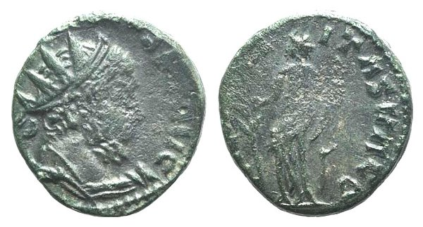 D/ Barbarous Radiates, imitating Tetricus I, late 3rd century AD-5th century AD. Æ (15mm, 2.22g, 12h). Radiate and cuirassed bust r. R/ Hilaritas standing l., holding branch and cornucopia. Green patina, VF