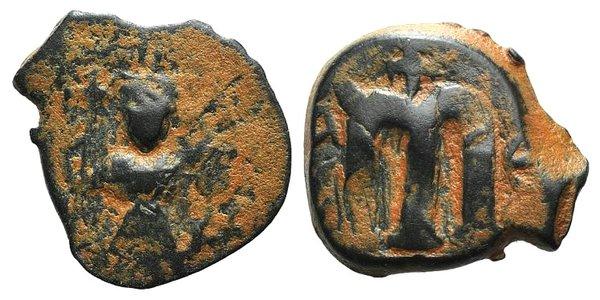 D/ Arab-Byzantine, c. 660s-680s. Æ Fals (20mm, 5.10g, 10h), Emperor standing facing, holding long cross and globus cruciger. R/ Cursive M; cross above. Cf. Album 3504. Brown patina, near VF
