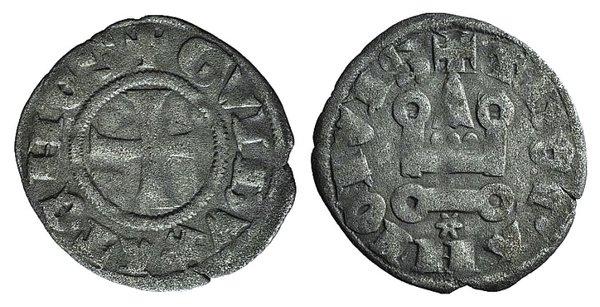 D/ Principality of Achaea. Gui II de La Roche(1287-1308). BI Denier (18mm, 0.78g, 3h). Thebes. Cross pattée. R/ Château tournois. Metcalf, Crusades 1077-8. VF