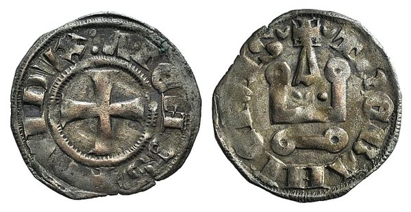 D/ Principality of Achaea. Gui II de La Roche(1287-1308). BI Denier (17mm, 1.02g, 3h). Thebes. Cross pattée. R/ Château tournois. Metcalf, Crusades 1077-8. VF