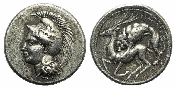 D/ Northern Lucania, Velia, c. 440/35-400 BC. Fake Didrachm (24mm, 7.97g, 11h). Head of Athena l., wearing crested Attic helmet decorated with griffin; ΣA behind neck. R/ Lion attacking stag l. Cf. HNItaly 1270. Modern fake for study