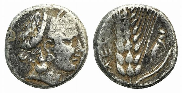 D/ Southern Lucania, Metapontion, c. 400-340 BC. Fake Stater (18mm, 5.62g, 12h). Head of Demeter r., wearing fillet. R/ Barley ear with leaf to r.; grasshopper to r. Cf. HNItaly 1515. Modern fake for study