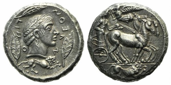 D/ Sicily, Leontini, c. 466-460 BC. Fake Tetradrachm (26mm, 11.30g, 12h). Charioteer, holding kentron and, driving slow r.; above, Nike flying l., crowning charioteer with wreat; in exergue, lion r. R/ Head of Apollo r., wearing laurel wreath; three leaves around; below, lion r. Cf. HGC 2, 665. Modern fake for study