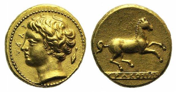 D/ Sicily, Syracuse. Dionysios I (405-367 BC). Fake Dekadrachm – 50 Litrai (11mm, 2.96g, 12h). Head of Anapos l.; barley grain to r. R/ Horse prancing r. on exergual line. Cf. SNG ANS 347. Modern fake for study