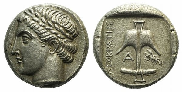 D/ Thrace, Apollonia Pontika, mid 4th century BC. Fake Tetradrachm (25mm, 16.76g, 1h). Kleokrates, magistrate. Head of Apollo l., wearing laurel wreath. R/ Upright anchor; A and crayfish flanking,; all within shallow incuse square. Cf. SNG BM Black Sea 165. Modern fake for study