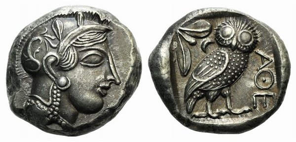 D/ Athens, c. 337-294 BC. Fake Tetradrachm (25mm, 12.57g, 6h). Head of Athena r., wearing crested Attic helmet. R/ Owl standing r.; olive sprig and crescent behind. Cf. SNG Copenhagen 64. Modern fake for study