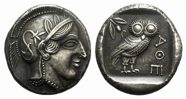D/ Athens, c. 337-294 BC. Fake Tetradrachm (27mm, 17.80g, 12h). Head of Athena r., wearing crested Attic helmet. R/ Owl standing r.; olive sprig and crescent behind. Cf. SNG Copenhagen 64. Modern fake for study