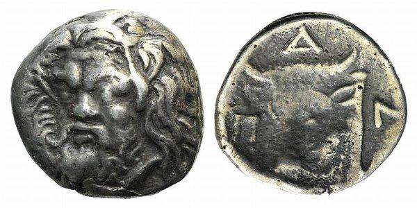 D/ Cimmerian Bosporos, Pantikapaion, c. 340-325 BC. Fake Drachm (14mm, 2.14g, 12h). Head of bearded satyr slightly l. R/ Head of bull l. Cf. SNG BM Black Sea 880. Modern fake for study