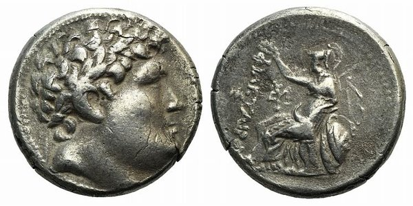 D/ Kings of Pergamon, Attalos I (241-197 BC). Fake Tetradrachm (28mm, 16.34g, 12h). Laureate head of Philetairos r. R/ Athena enthroned l., resting on shield, crowning dynastic name with wreath; monogram to inner l., bow to r. Cf. Westermark Group VIA. Modern fake for study