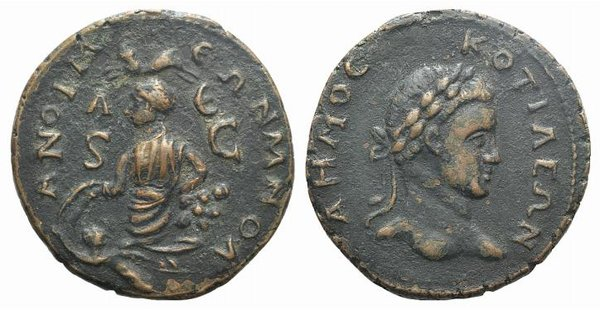D/ Phrygia, Cotiaeum, c. 3rd century AD. Fake Æ (33mm, 15.13g, 12h). Laureate head of Demos r. R/ Tyche seated l. on rock outcropping holding grain ears; below, river-god Orontes swimming l., head r.; above, ram springing l. Modern fake for study