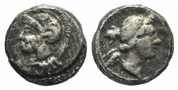 D/ Cilicia(?), 4th century BC. Fake Diobol (9mm, 1.06g, 12h). Bust of Nike r. R/ Helmeted head of Athena l. Modern fake for study