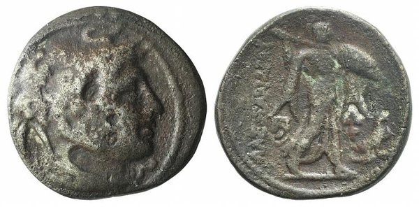 D/ Ptolemaic Kings of Egypt, Ptolemy I Soter (Satrap, 323-305 BC). AR Tetradrachm (27mm, 10.54g, 12h). Alexandreia, c. 311/0-305. Diademed head of the deified Alexander r., wearing elephant skin headdress. R/ Athena Alkidemos advancing r.; monogram to inner l.; to r., two monograms above eagle standing r. on thunderbolt. Cf. Svoronos 146. Modern fake for study