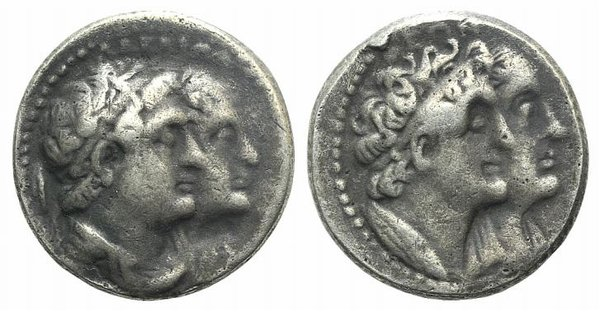 D/ Ptolemaic Kings of Egypt, Ptolemy II (285-246 BC). Fake Tetradrachm (25mm, 9.77g, 12h). Alexandreia. Conjoined busts of Ptolemy II and Arsinöe II r. R/ Conjoined busts of Ptolemy I and Berenike I. Cf. SNG Copenhagen 133. Modern fake for study