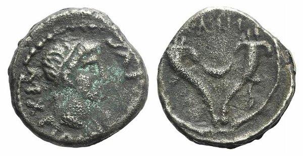 D/ Kings of Mauretania, Juba II (25 BC-AD 24). Fake Denarius (15mm, 2.54g, 9h). Diademed head r. R/ Crescent within double cornucopiae. Cf. SNG Copenhagen 599-600. Modern fake for study
