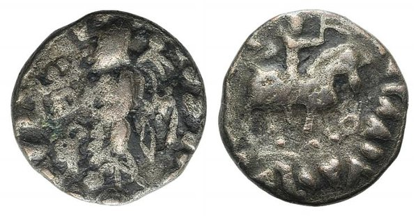 D/ Indo-Skythians, c. 1st century BC. Fake Drachm (13mm, 2.23g, 4h). Kings on horseback r. R/ City Godess standing l., holding brazier and palm. Modern fake for study