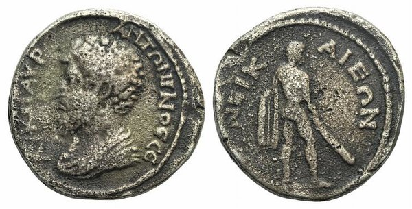 D/ Marcus Aurelius (161-180). Bithynia, Nicaea. Fake Silver (29mm, 16.89g, 6h). Bare-headed and draped bust l. R/ Hercules standing r., holding club. Modern fake for study