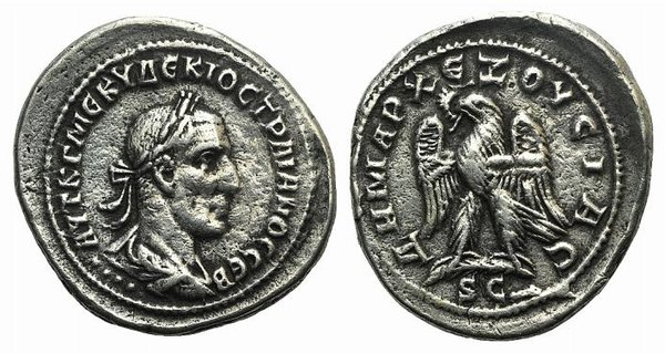 D/ Trajan Decius (249-251). Syria, Antioch. Fake Tetradrachm (29mm, 9.32g, 6h). Laureate, draped and cuirassed bust r.; four pellets below. R/ Eagle standing l. on palm, wreath in beak. Cf. Prieur 582. Modern fake for study