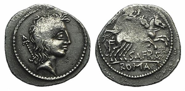 D/ Spurius Afranius, Rome, 150 BC. Fake Denarius (20mm, 3.66g, 12h). Bare head r. R/ Victory driving galloping biga r., holding reins and whip. Cf. Crawford 206/1. Modern fake for study