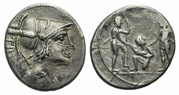 D/ Ti. Veturius, Rome, 137 BC. AR Denarius (18mm, 2.94g, 5h). Helmeted and draped bust of Mars r. R/ Oath-taking scene: youth kneeling l., head r., between two soldiers, each of whom holds a spear and sword that touches a pig held by the youth. Cf. Crawford 234/1. Modern fake for study