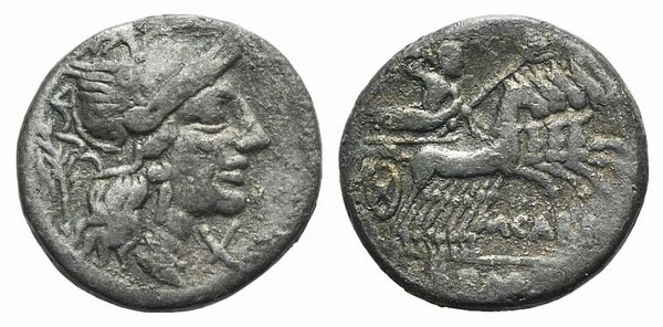 D/ M. Carbo, Rome, 122 BC. Fake Denarius (18mm, 2.47g, 1h). Helmeted head of Roma r.; laurel branch to l. R/ Jupiter driving galloping quadriga r., hurling thunderbolt and holding sceptre and reins. Cf. Crawford 276/1. Modern fake for study
