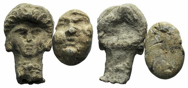 D/ Lot of 2 Roman PB Heads, c. 2nd-3rd century AD. LOT SOLD AS IS, NO RETURNS