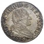 D/ Casa Savoia - Vittorio Amedeo III (1773-1796).20 soldi 1796.MIR 990c. Mont. 373.MI.g 5.23.mm 26.47.NC.Bel BB+. Patina su argentatura