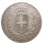 R/ Casa Savoia - Regno di Sardegna.Carlo Alberto (1831-1849).5 lire 1844 Genova.Pag. 255.AG.qBB.
