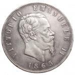 D/ Casa Savoia -Vittorio Emanuele II (1861-1878).5 lire 1865 Napoli.Pag. 486. Mont. 168.AG.R.Colpettini.BB-qSPL