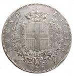 R/ Casa Savoia -Vittorio Emanuele II (1861-1878).5 lire 1865 Napoli.Pag. 486. Mont. 168.AG.R.Colpettini.BB-qSPL