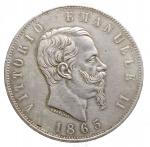 D/ Casa Savoia - Vittorio Emanuele II (1861-1878).5 lire 1865 T.Pag. 487.R.AG.BB-SPL