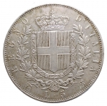 R/ Casa Savoia - Vittorio Emanuele II (1861-1878).5 lire 1865 T.Pag. 487.R.AG.BB-SPL
