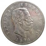 D/ Casa Savoia - Vittorio Emanuele II (1861-1878).5 lire 1874 M.Gig. 48.AG.Segnetti.BB-SPL. Leggera patina su fondi lucenti
