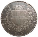 R/ Casa Savoia - Vittorio Emanuele II. 5 lire 1875 Roma. Gig 50. Colpo al bordo al rv. BB-qSPL