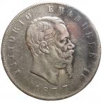 D/ Casa Savoia - Vittorio Emanuele II (1861-1878).5 lire 1877.Pag. 502. Mont. 189.AG.BB. Parti scure
