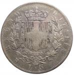 R/ Casa Savoia - Vittorio Emanuele II (1861-1878).5 lire 1877.Pag. 502. Mont. 189.AG.BB. Parti scure