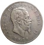D/ Casa Savoia -Vittorio Emanuele II (1861-1878).5 lire 1878 R.Pag. 503.AG.BB/SPL. Leggera patina in parte iridescente su fondi lucenti
